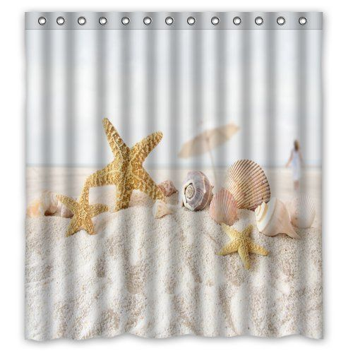 Sand Seashells Starfish Shower Curtain Mildew Waterproof Polyester Fabric  Bathroom Shower Curtain
