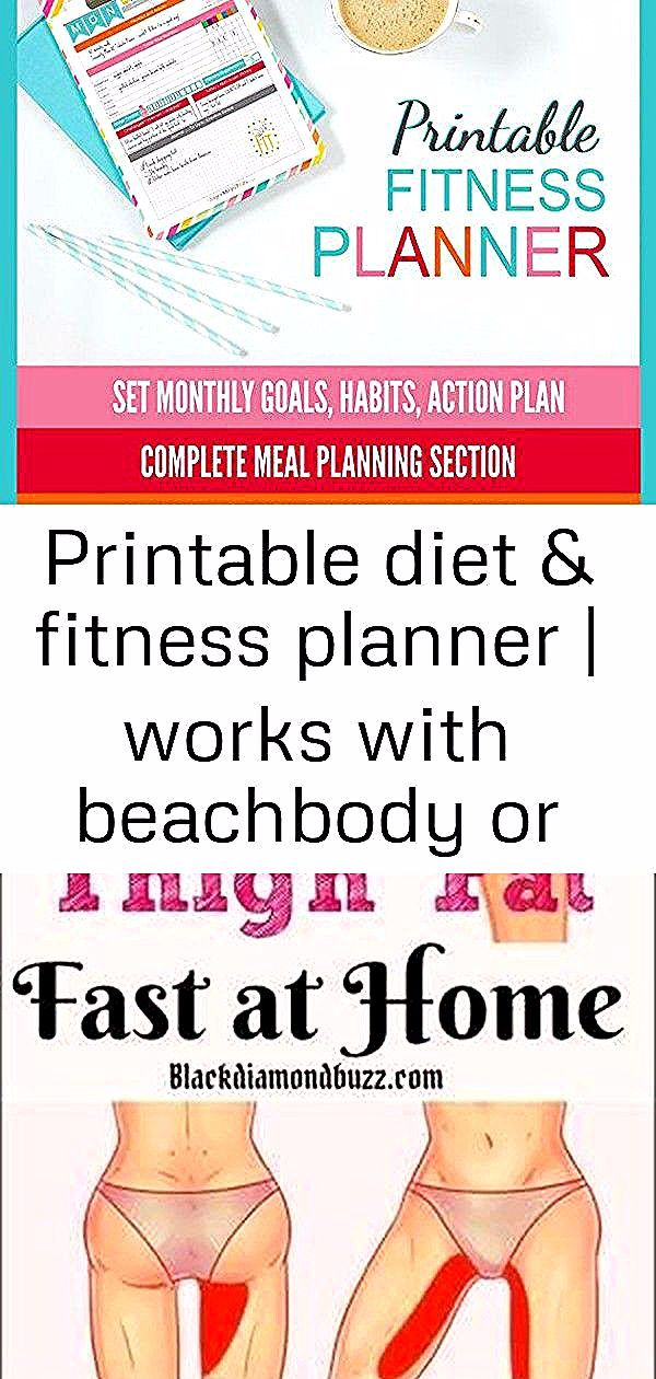 Printable diet & fitness planner   works with beachbody or any program   8.5x11 pdf   meal plannin 1...