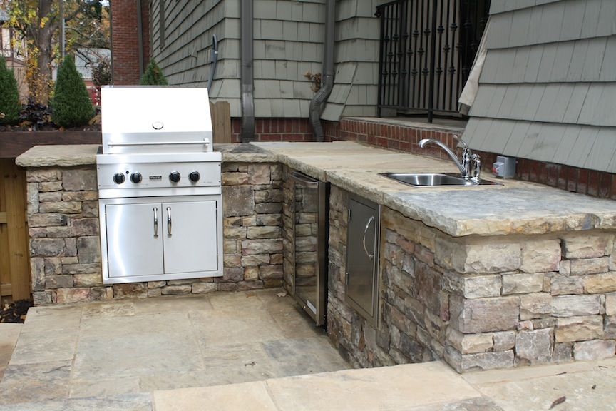 Stacked Stone Outdoor Kitchen Island Outdoor Barbeque Outdoor