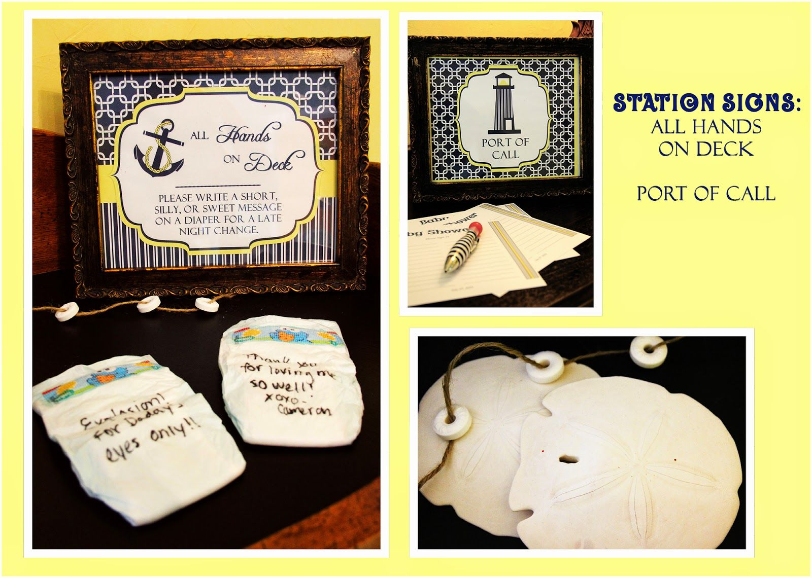 Nautical Baby shower Station signs Diaper display, entry table ...