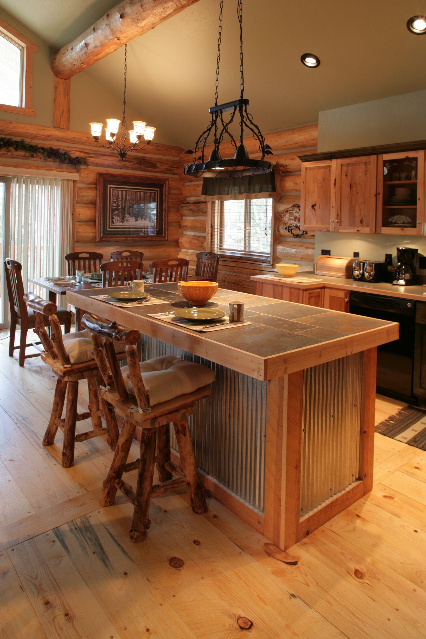 Mountain Wood Works Inc Acorn Interiors Pages Black Hills Log Home Builders Rustic Kitchen Islandrustic