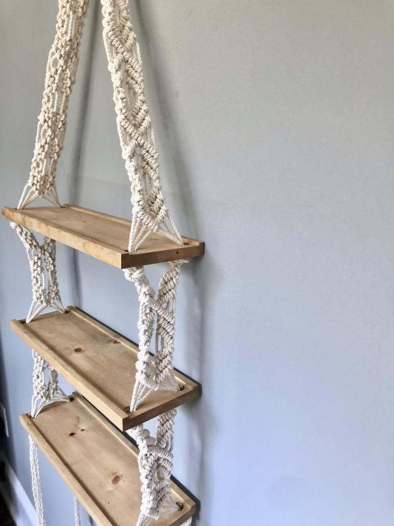 Photo of Extra Large Triple Macrame Hanging Shelf // Wooden Hanging Shelf // Boho Decor // Modern Macrame //