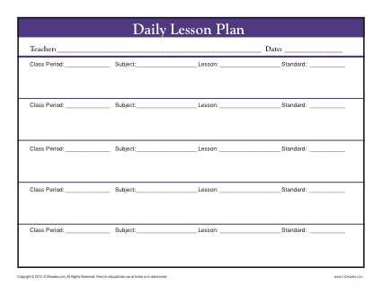 Daily Muti-Class Lesson Plan Template with Period - Secondary - daily lesson plan template word