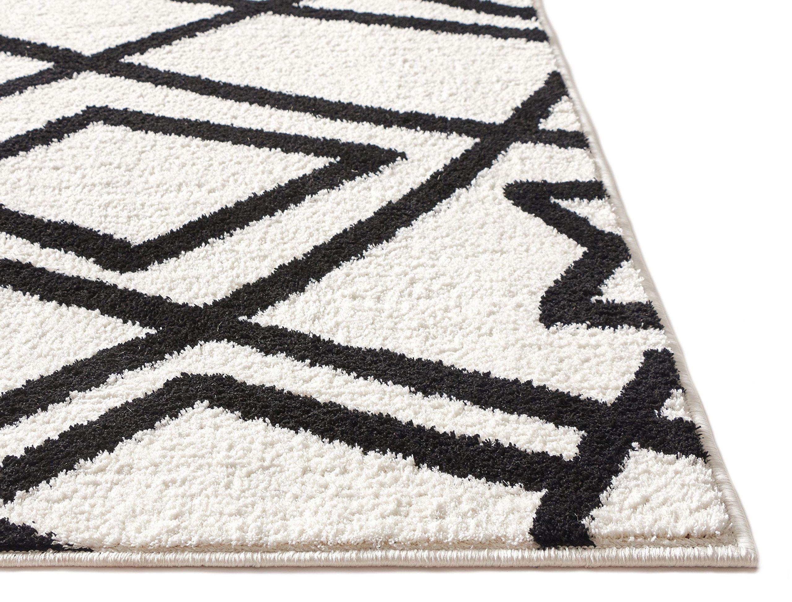 Mara Beni Ourain Black And White Modern Moroccan Trellis