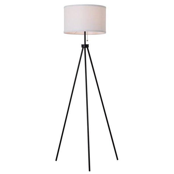 Mainstays 58 Metal Tripod Floor Lamp Black Walmart Com Black Tripod Floor Lamp Tripod Floor Lamps Tripod Floor Lamp Living Rooms