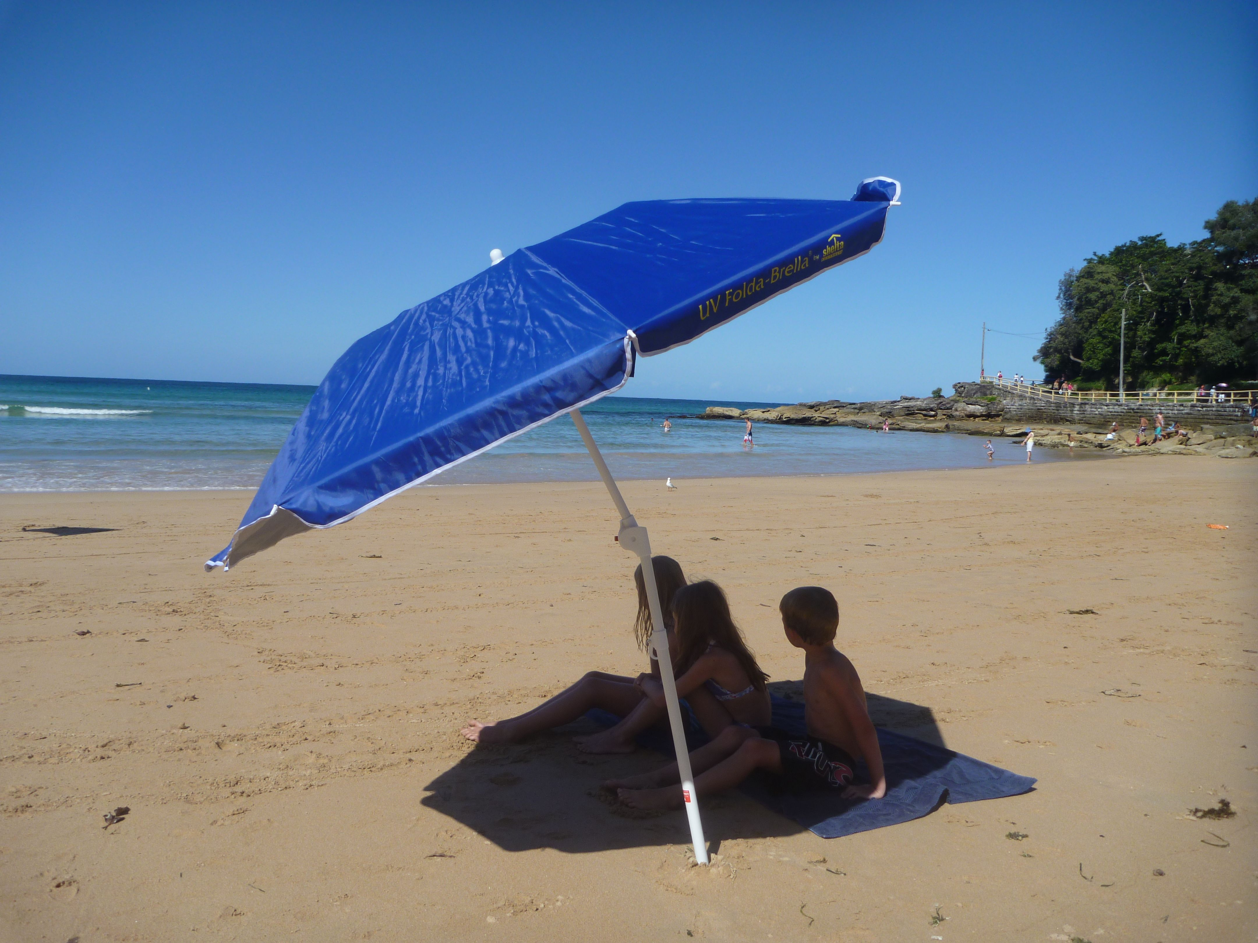 The Foldabrella folding beach umbrella by Shelta Australia