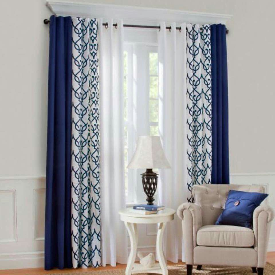 3 Different Panels Dark Solid Patterned Light Solid Curtains Living Room Home Curtains Living Room Windows
