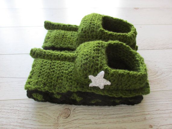Crochet Tank Slippers Green Hand Knit Slippers, Gift For ...
