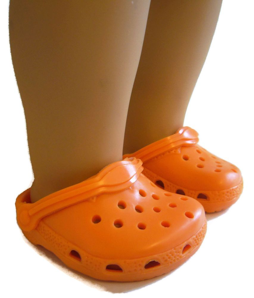 bca4701fe79f84 Halloween Thanksgiving Orange Kroc Garden Clogs Shoes fits 18