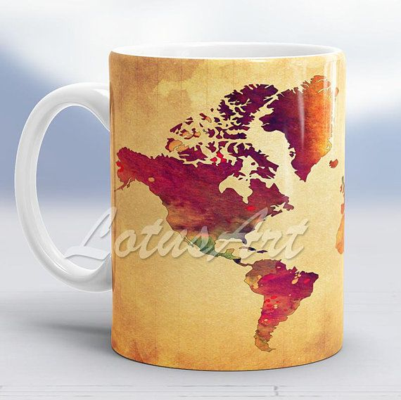 World map mug travel map world map watercolor vintage style map world map mug travel map world map watercolor vintage style map travel memories mug world art gumiabroncs Choice Image