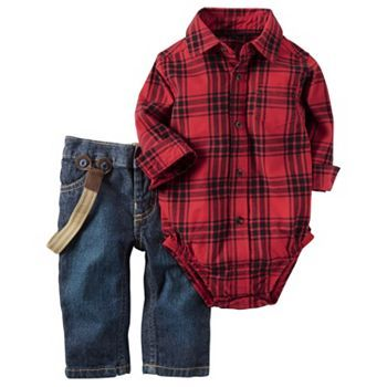 Baby Boy Carter's Red Plaid Flannel Bodysuit & Suspender Jeans Set