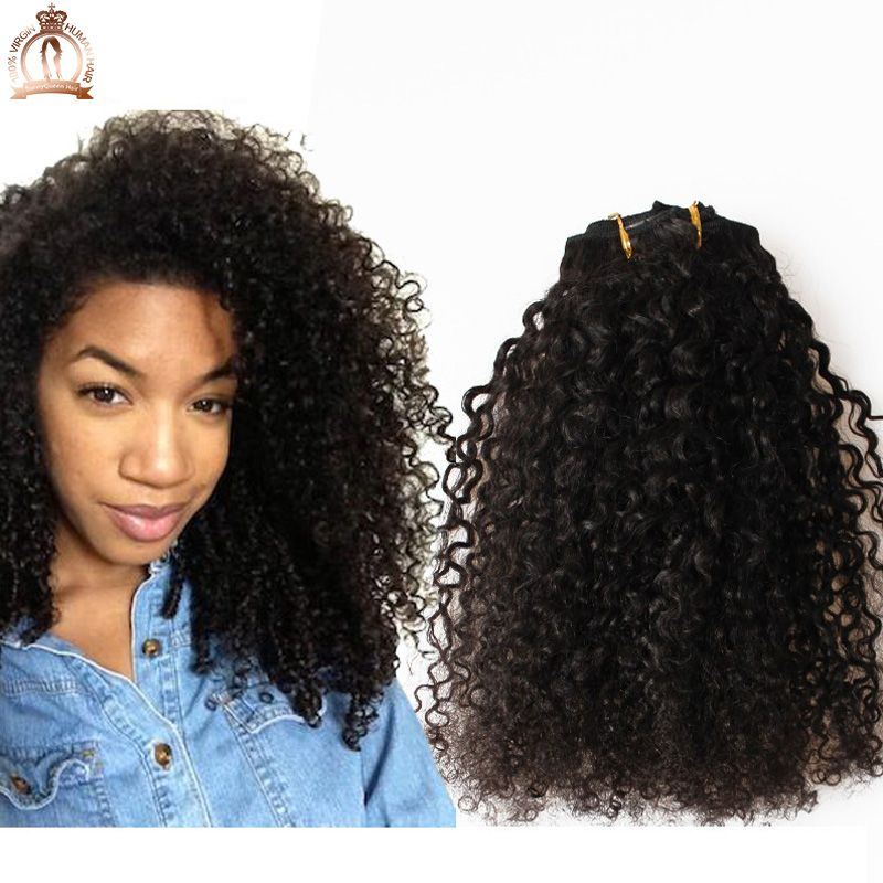 Online Shop 3b 3c Kinky Curly Clip In Human Hair Extensions 7pc