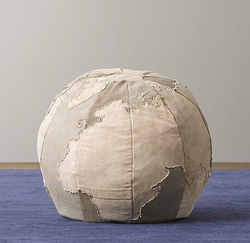 Globe Ottoman Restoration Hardware Floor Pouf