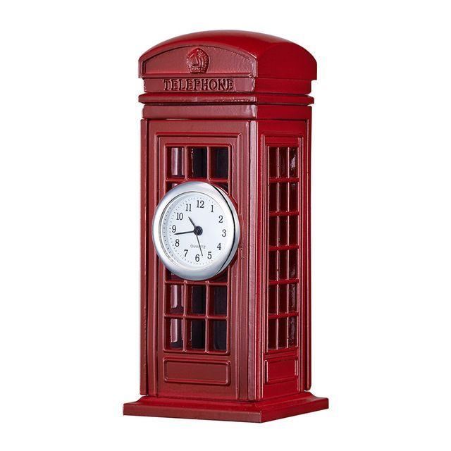 Mini cabina de teléfono rojo Shape europa estilo de londres reloj Display analógico de cuarzo movimiento del reloj de…