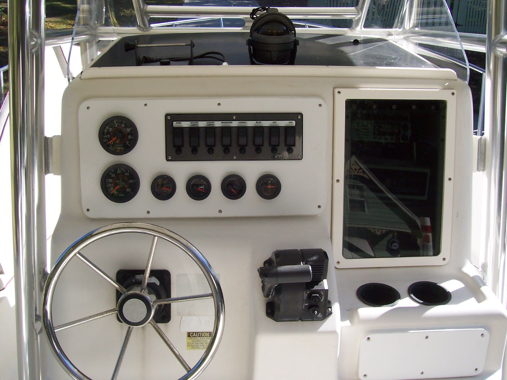 new dash and relocation of new switch panel Center Console Boats