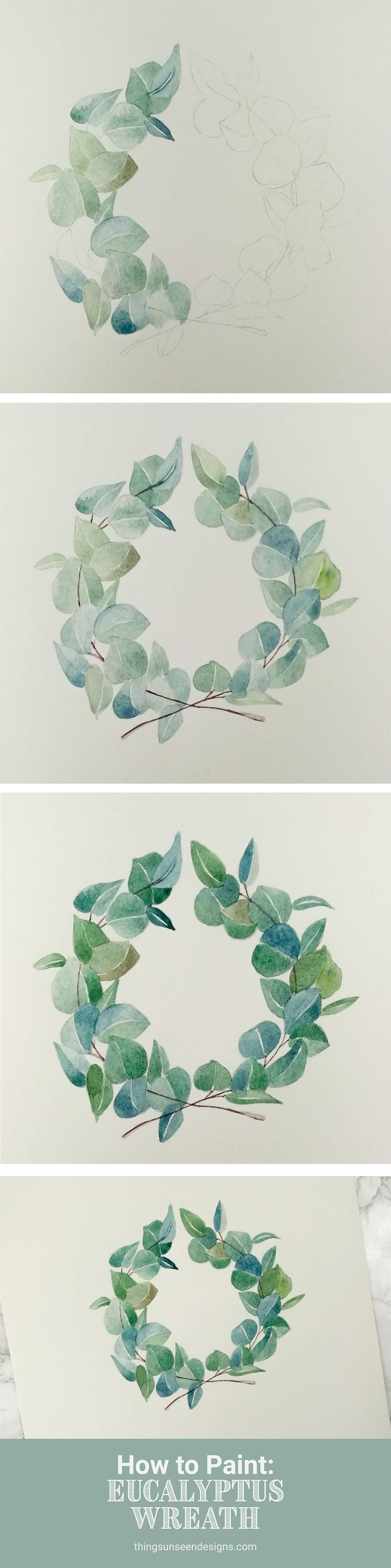 Photo of Painting: Eucalyptus wreath • Invisible designs