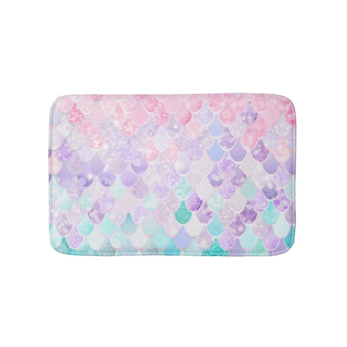 Mermaid Pastel Iridescent Bath Mat for Girls