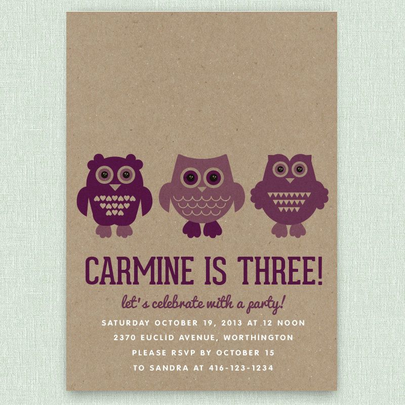 Owls - Set of 25 personalized birthday party invitations with ...