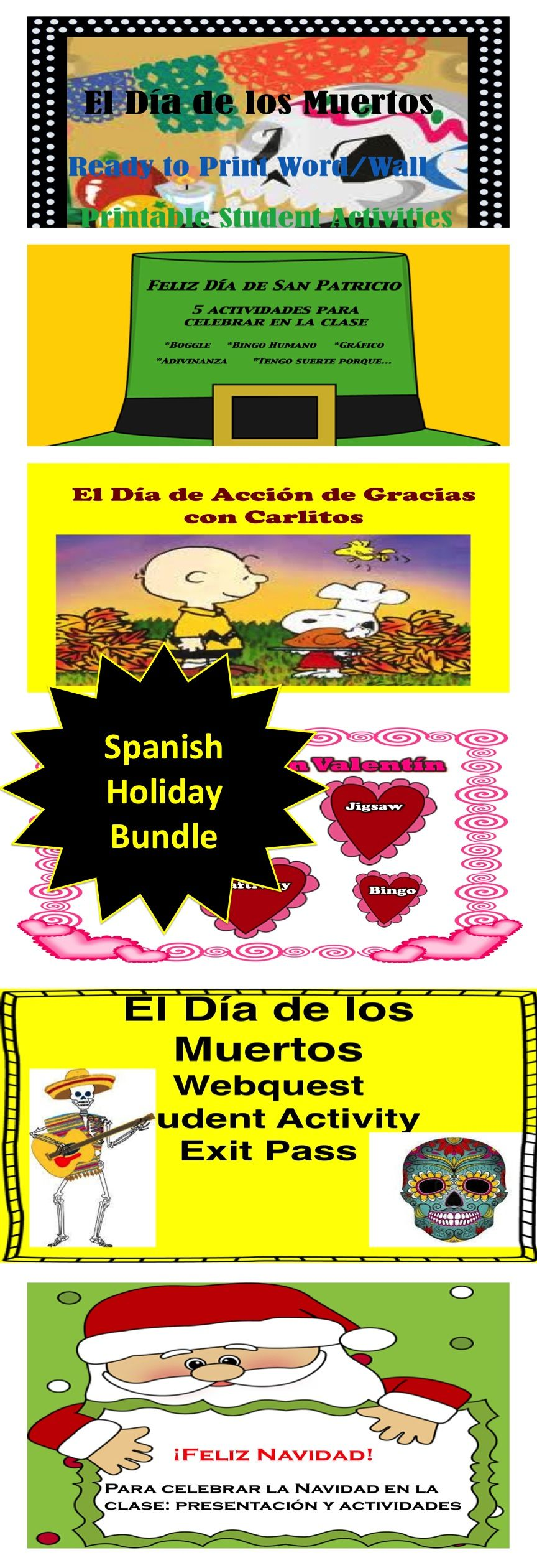 Spanish holiday Bundle. Celebrate with your students in Spanish class. 15 Lessons!