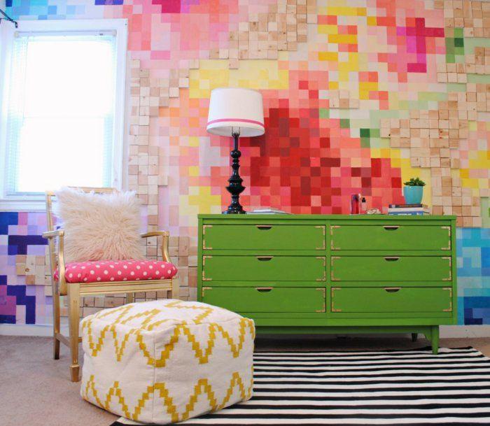 Diy Wohnideen Wandgestaltung Wandfarbe Quadraten Muster Bunt