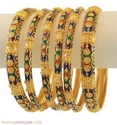 eca8e39cda721 22k Meenakari Bangles Set by Meena Jewelers | Handmade Jewelry ...