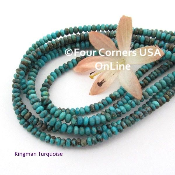 four corners usa rondelle strands blue american online jewelry beads kingman turquoise inch tq supplies