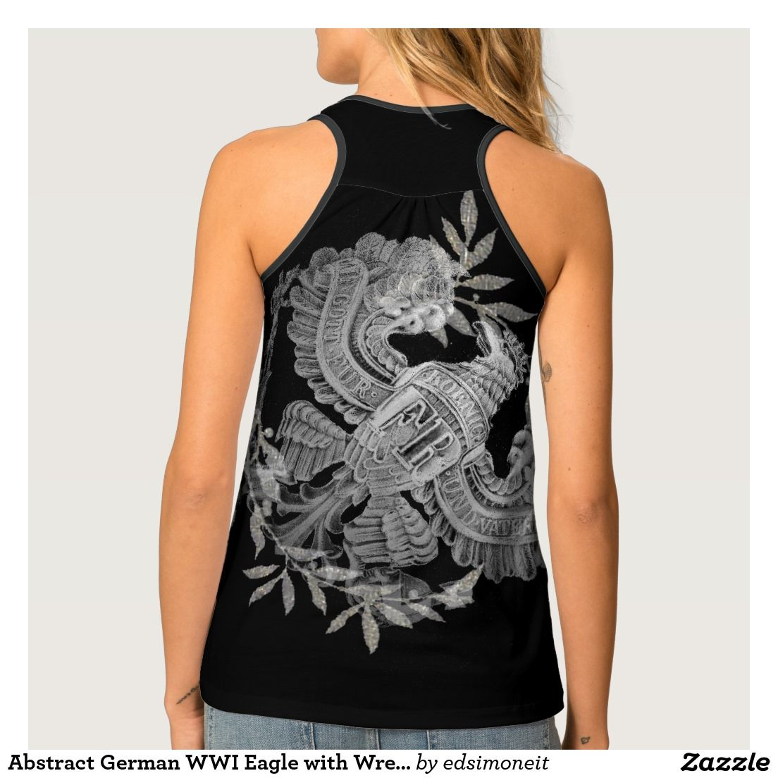 Abstract German WWI Eagle with Wreath Tank Top