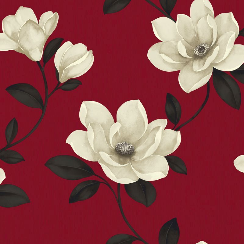 Magnolia By Sophie Conran Red Wallpaper Direct Floral Wallpaper Magnolia Wallpaper Magnolia Flower