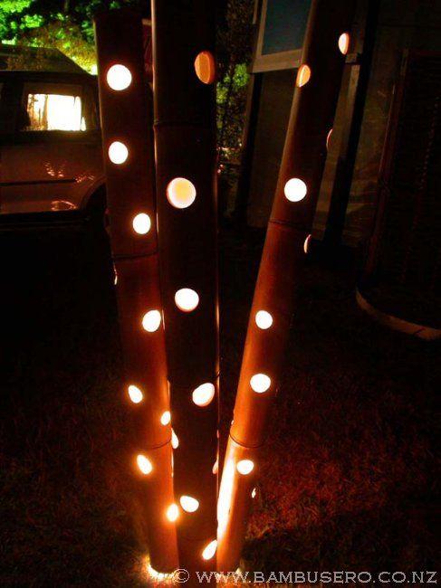 Bamboo Lights Decoraciones De Jardin Decoracion Con Bambu