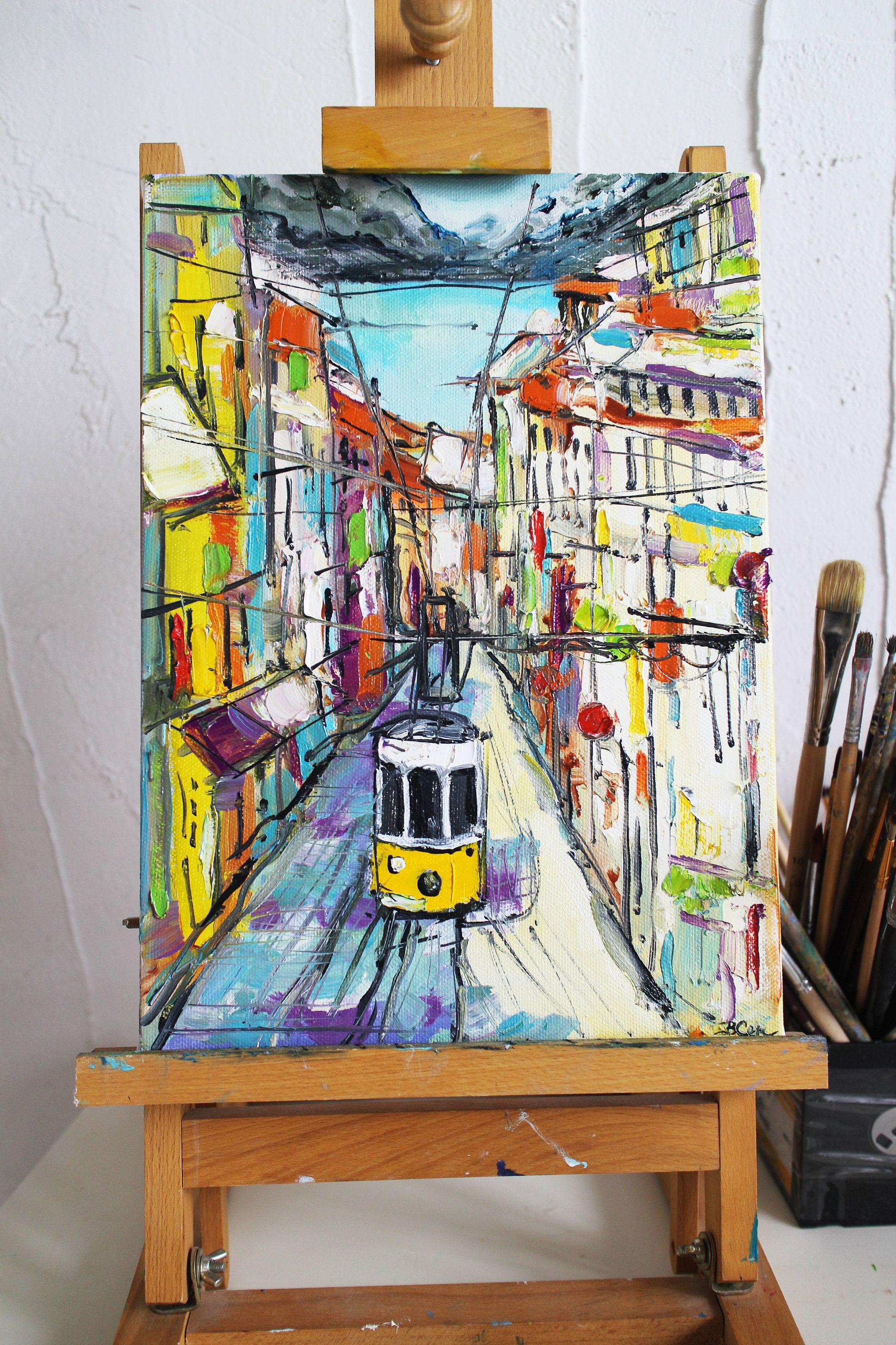 Trams Portugal Lisbon Oil Painting Original Cityscape Lisbon Etsy Canvas Art Wall Decor Painting Oil Painting