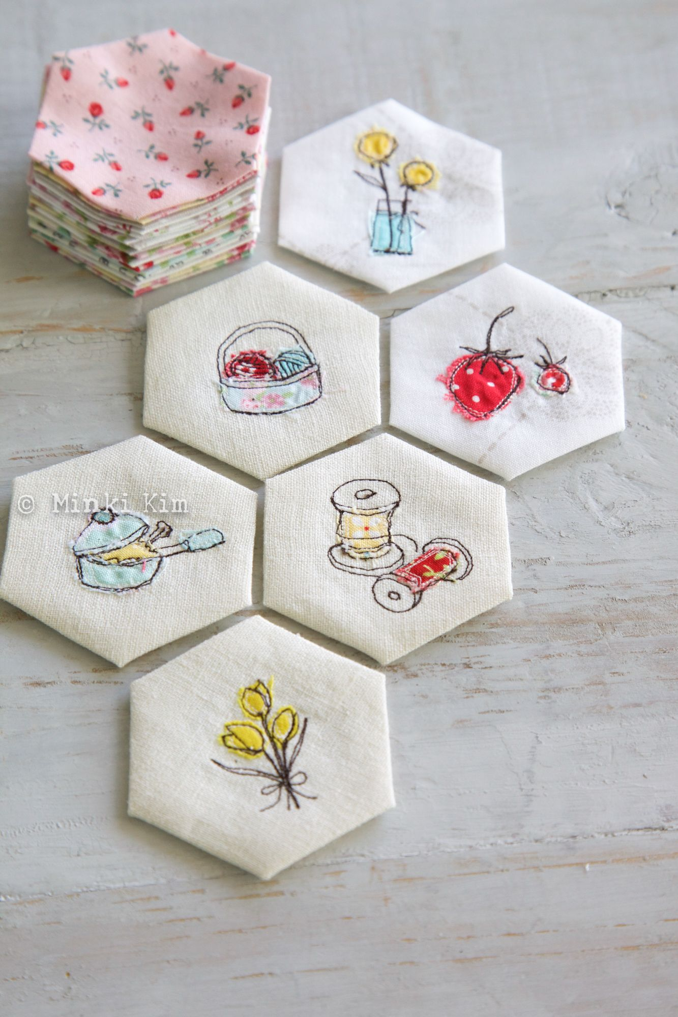 Embroidery and hexies -- good combination | Quilts | Pinterest ...