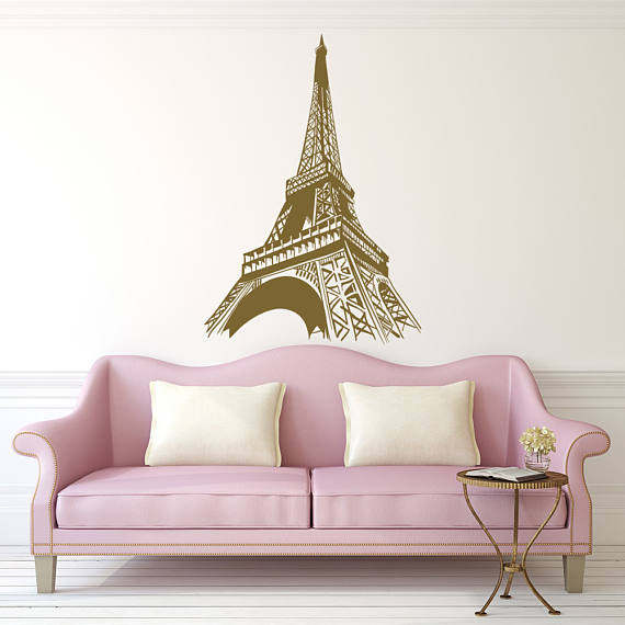 Paris Decals Wall Art paris wall decal - paris theme decor- eiffel tower wall decal