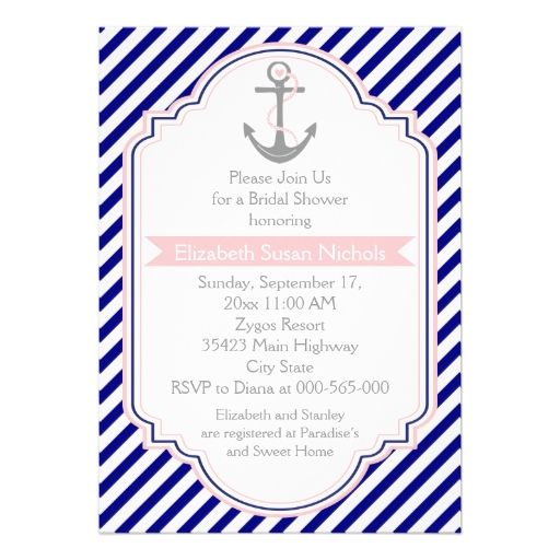 Navy blue, pink nautical wedding bridal shower announcement