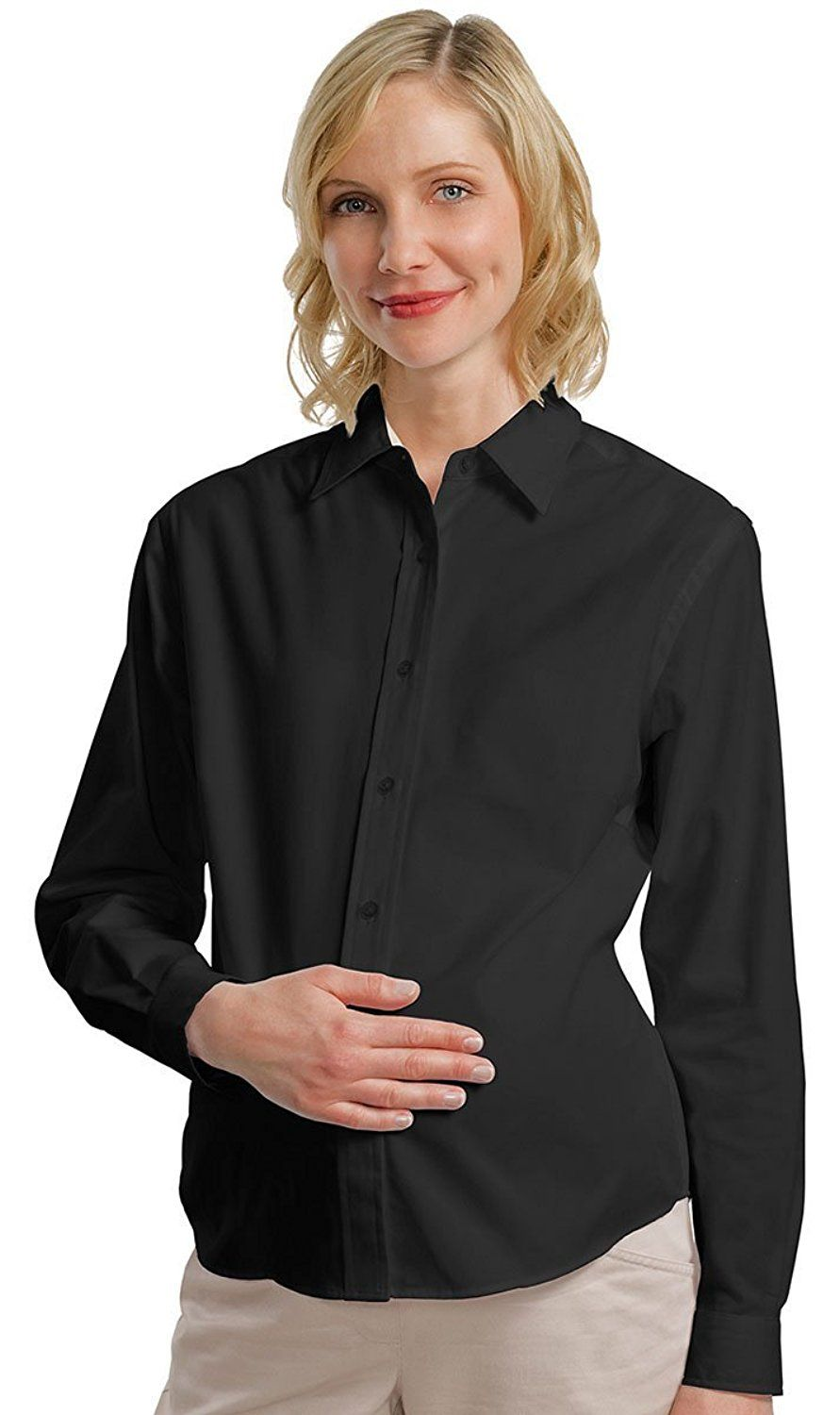 Port Authority Women S Maternity Long Sleeve Dress Shirt Check Out This Great Image Plus Size Maternity Womens Maternity Long Sleeve Port Authority [ 1500 x 891 Pixel ]