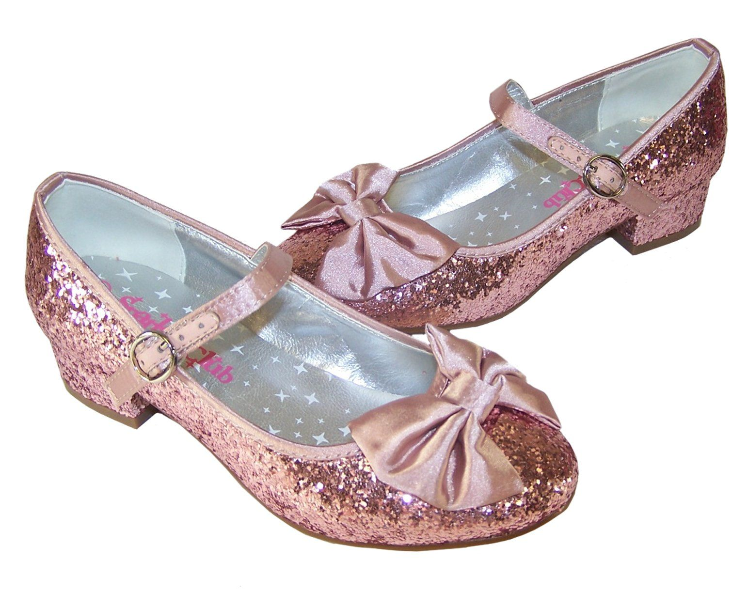 Girls pink glitter low heeled party shoes size 13 Low