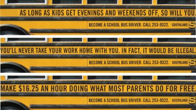 Creative ads for recruiting school bus drivers | HA HA HA