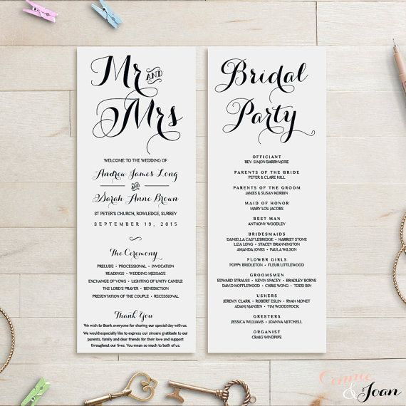 Wedding Program Template Wedding Order Of Service Byron Wedding Service Printable We In 2021 Wedding Order Of Service Printable Wedding Programs Wedding Programs