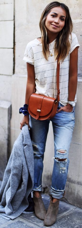 Weekend style. Distressed jeans. White striped tee. Cross body bag. Booties and blazer! Love this look!
