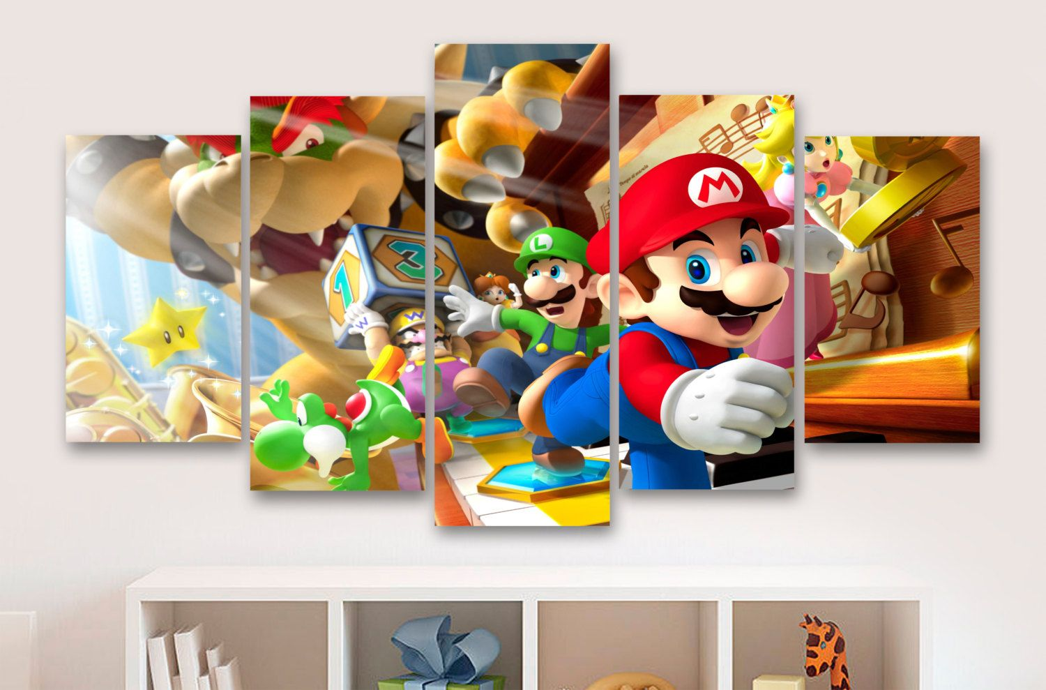Super mario and friends childrens gaming 5 piece panel super mario and friends childrens gaming 5 piece panel canvas wall art amipublicfo Image collections