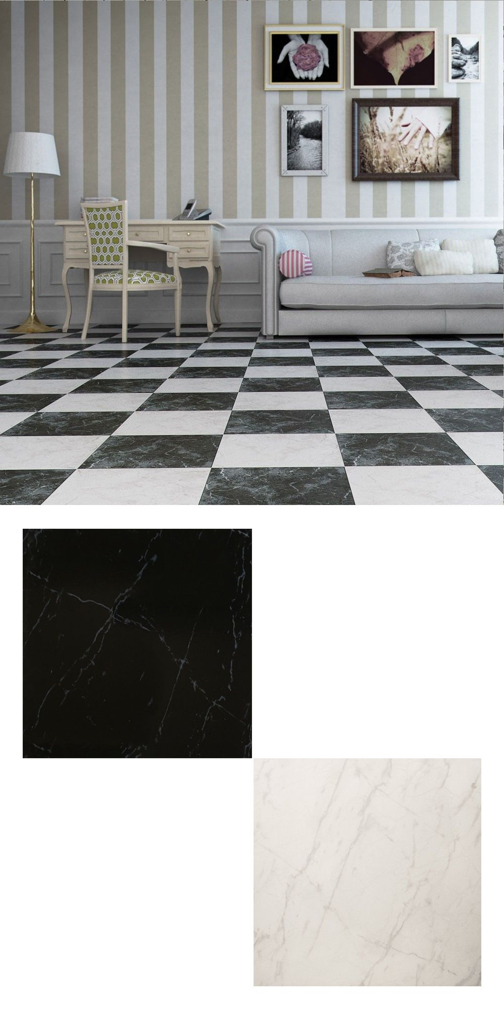 A collection of black and white marbleeffect ceramic wall