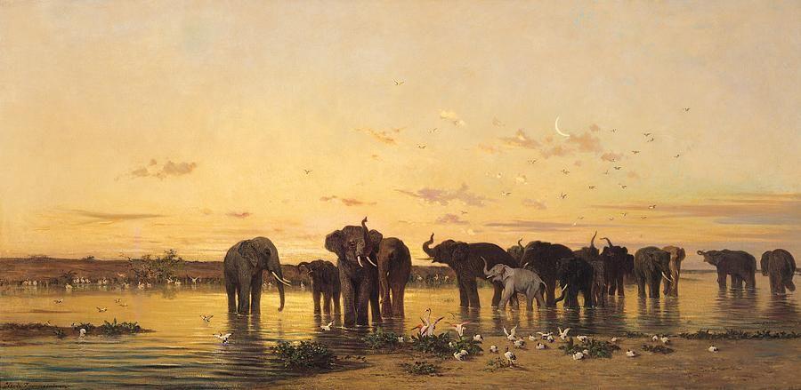 Charles Emile De Tournemine African Elephants Elephant Painting Elephant Wall Art African Elephant
