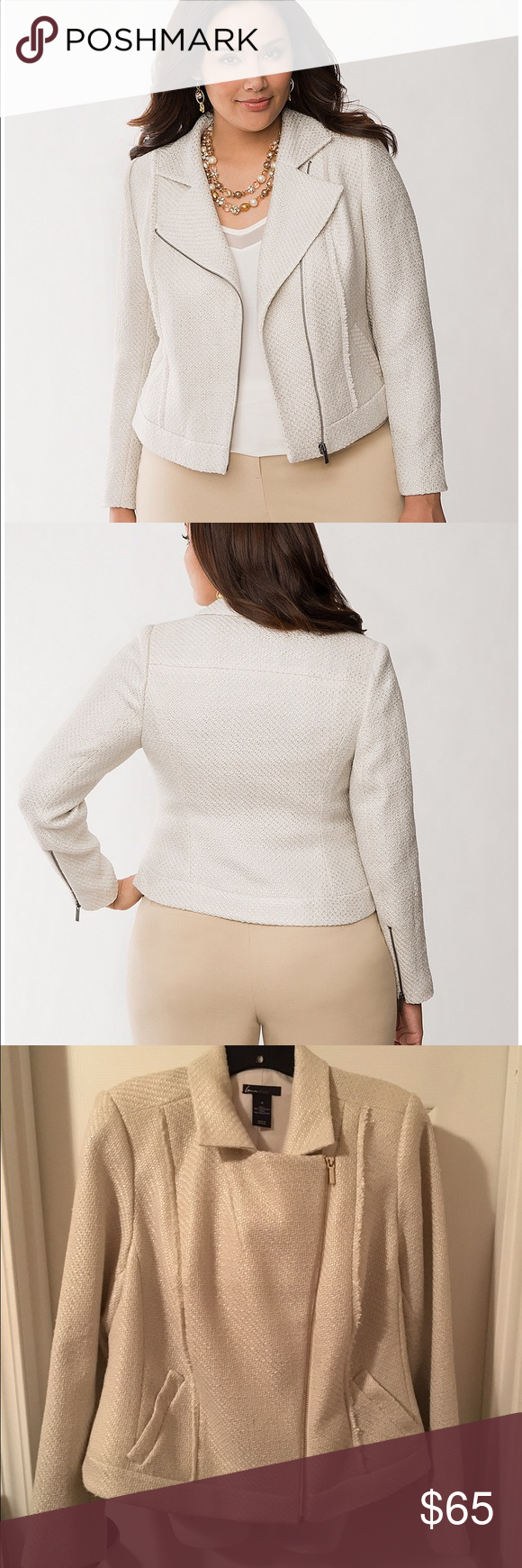 "Lane Bryant Foiled Boucle Moto Jacket Ivory Tweed GORGEOUS Lane Bryant size 16 foil boucle moto jacket - love the sheen and classiness of this piece!           POLYESTER DRY CLEAN ONLY LENGTH: 23"" With a subtle foil gleam and fringed seams, this beautiful boucle moto jacket is sophisticated with just a hint of spice. Energetic, asymmetric cut offers a modern structure that's both flattering and versatile for dressy or casual occasions. Finished with oversized lapels, zip-front closure and…"