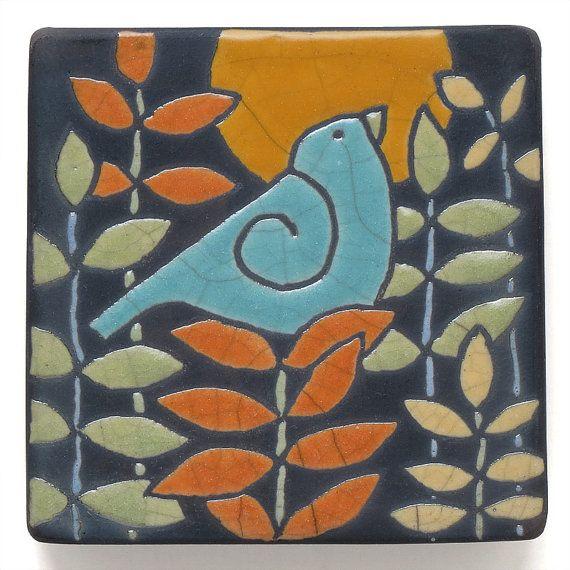 Decorative 4X4 Ceramic Tiles Amusing Blue Birdceramic Tilehandmade 4X4 Inch Raku Fired Art Tile Wall Decorating Inspiration