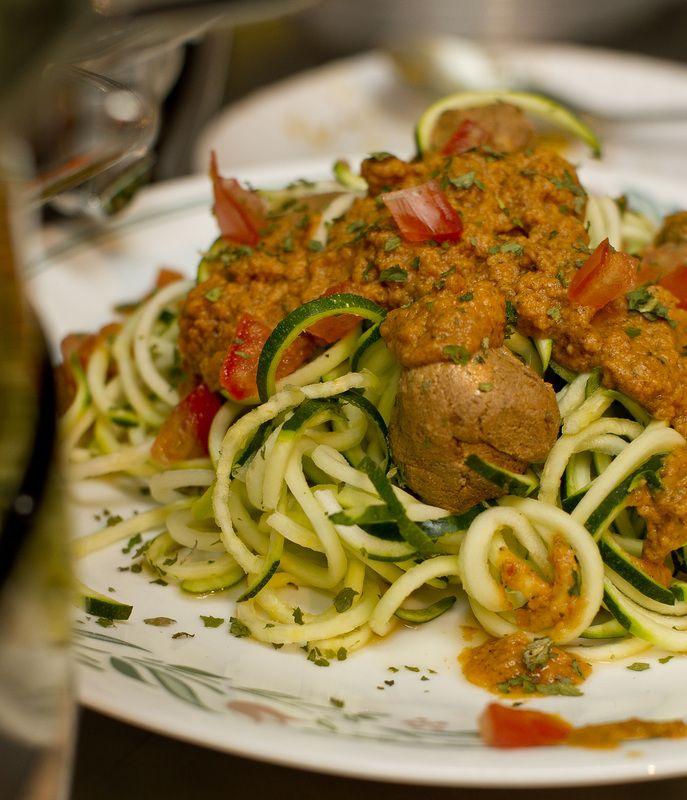 Zucchini spaghetti with walnut meat balls raw vegan raw living zucchini spaghetti with walnut meat balls raw vegan forumfinder Choice Image
