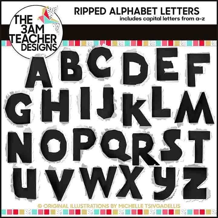 Ripped Alphabet Letters | Free Fonts | Lettering, Alphabet, Clip art