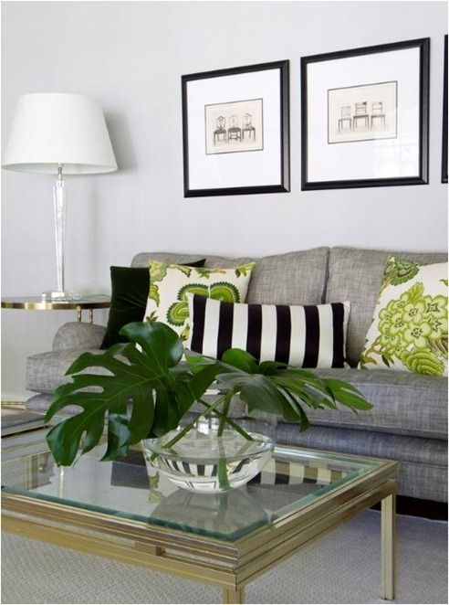 Summer Colour Analysis Centsational Style Living Room Grey Living Room Green Contemporary Living Room Design