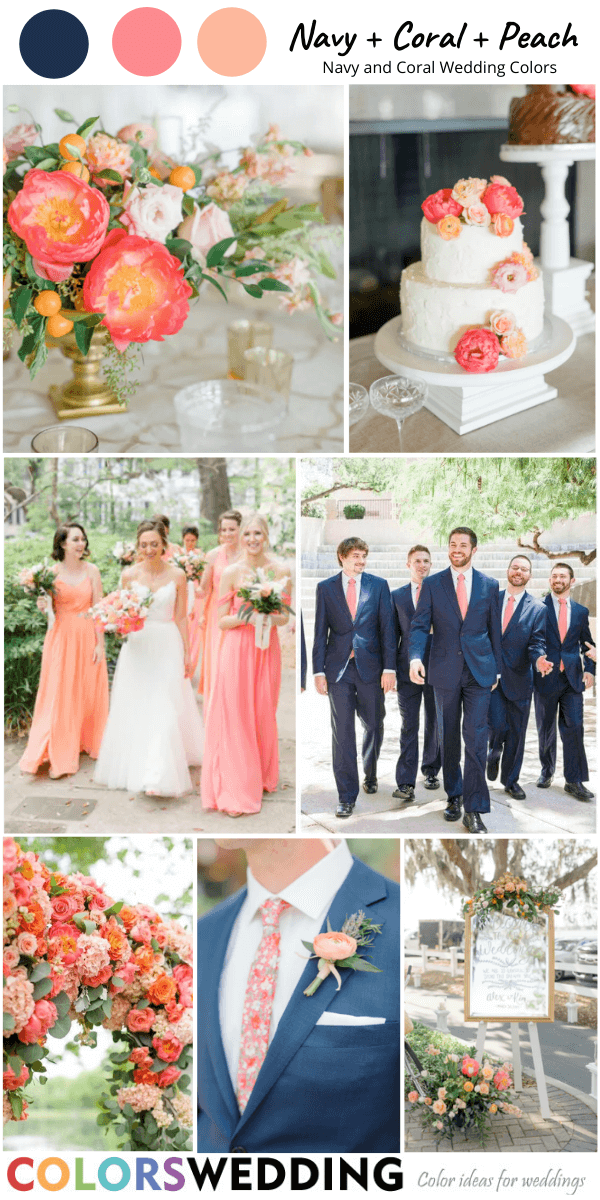 Top 8 Navy Blue And Coral Wedding Color Combos In 2020 Coral Wedding Colors Blue Coral Weddings Peach Wedding Theme