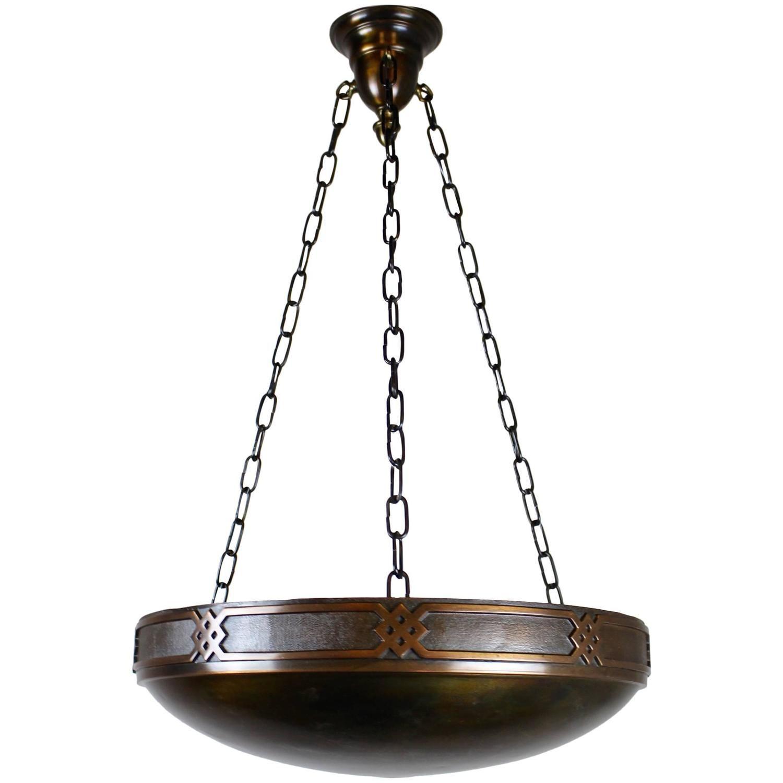 Arts And Crafts Copper Bowl Fixture 1stdibs Com Art Nouveau Lamps Copper Bowl Craftsman Lamps