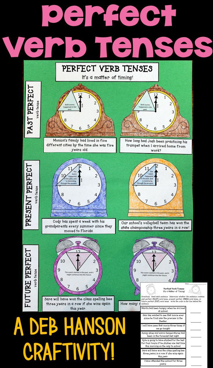 Perfect Verb Tenses Craftivity Perfect Verb Tense Verb Tenses Teaching Verbs [ 1269 x 736 Pixel ]