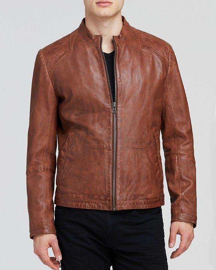 $327, Brown Leather Bomber Jacket: Hugo Boss Boss Orange Jips Leather Jacket.  Sold